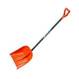 Лопата снеговая пластиковая с алюминиевой планкой, с алюминиевым черенком и V-ручкой, 410мм, оранжевая, СИБИН 421845