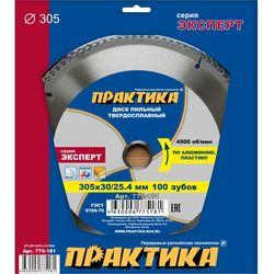 Диск пильный твёрдосплавный по алюминию ПРАКТИКА 305 х 30/25,4 мм, 100 зубов, 775-181