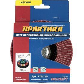 Круг лепестковый полировальный ПРАКТИКА 125 мм, крепление М14, войлочный, абразивный, мягкий, толщина 20 мм, 779-745