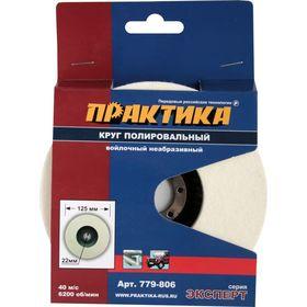 Круг войлочный ПРАКТИКА 125 х 22 мм, полировальный, не абразивный, 779-806