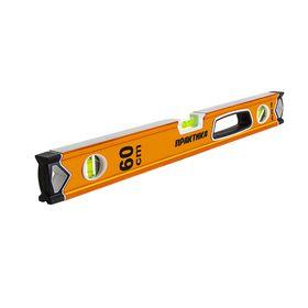 Уровень строительный ПРАКТИКА серия Эксперт, 600 мм, профиль 28 x 66 мм, 3 глазка, ручка, V-паз, точность 0,5 мм/м, 242-700