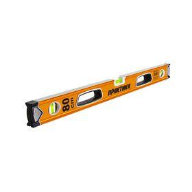 Уровень строительный ПРАКТИКА серия Эксперт, 800 мм, профиль 28 x 66 мм, 3 глазка, 2 ручки, V-паз, точность 0,5 мм/м, 242-717