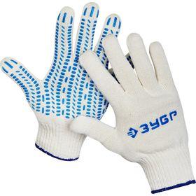 Перчатки ЗУБР трикотажные, 10 класс, х/б, с защитой от скольжения, L-XL, 11452-XL