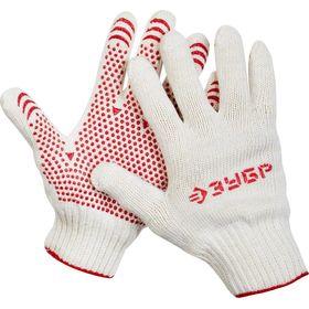 """Перчатки ЗУБР """"МAСTEP"""" трикотажные, 7 класс, х/б, с защитой от скольжения, L-XL, 11456-XL"""