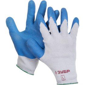 Перчатки ЗУБР ЭКСПЕРТ рабочие с резиновым рельефным покрытием, L (9), 11260-L