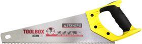 Ножовка многоцелевая (пила) STAYER TOOLBOX 350 мм, 11 TPI, мелкий прямой закаленный зуб, точный рез, 2-15091-45